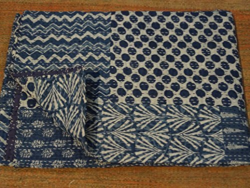 Tribal Asian Textiles Indigo Color Hand Block Printed Kantha Quilt, Twin Size Patchwork Cotton Bedspread, Made