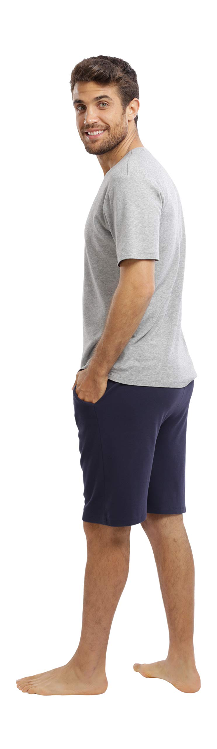 jijamas Incredibly Soft Pima Cotton Men's Pajamas Set - The Weekender Shorts in Navy and Heather Grey by jijamas (Image #2)