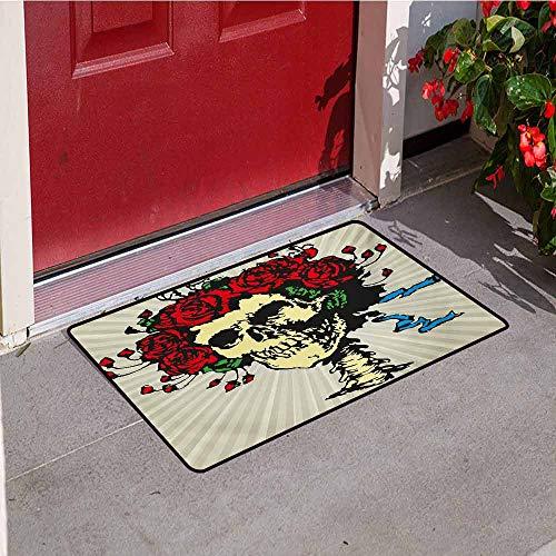 Jinguizi Rose Front Door mat Carpet Tattoo Art Style Graphic Skull in Red Flowers Crown Halloween Composition Print Machine Washable Door mat W35.4 x L47.2 Inch Beige Multicolor -
