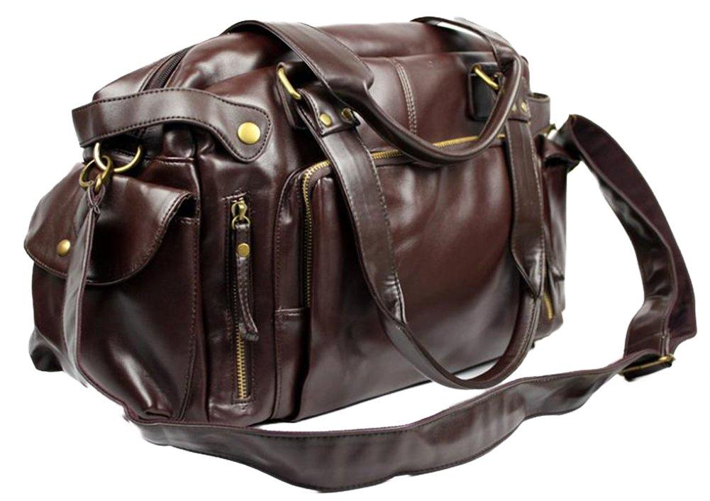 SaySure - Fashion Fashion Fashion Hand bag PU Leather Gym Duffle Handbag Satchel Shoulder Travel Bag for men Dark braun schwarz - DE-BG-SPT-000630 B00RGSYJ24 Zubehr & Gerte Hat einen langen Ruf da2ab5