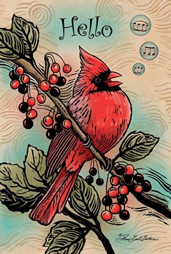 - Toland Home Garden Berry Cardinal 28 x 40 Inch Decorative Red Bird Branch Hello Music Singing House Flag