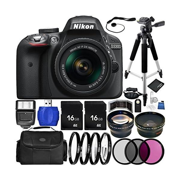 61xBik8aIXL. SS600  - Nikon D3300 DSLR Camera (Black) Bundle with DX NIKKOR 18-55mm f/3.5-5.6G VR Lens, Carrying Case and Accessory Kit (29…