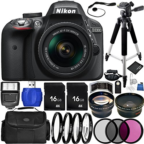 Nikon D3300 DSLR Camera (Black) Bundle with DX NIKKOR 18-55mm f/3.5-5.6G VR Lens, Carrying Case and Accessory Kit (29 Items)