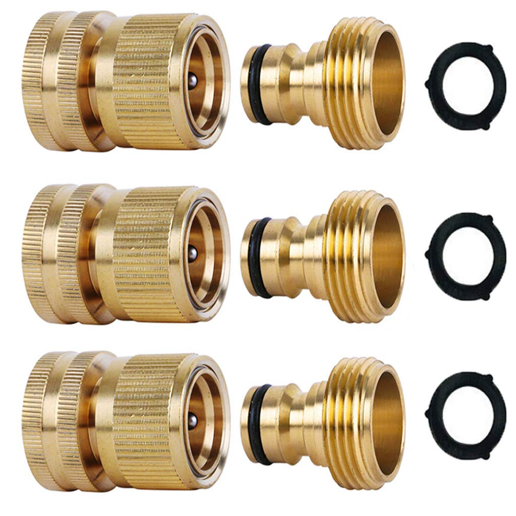ShowNew Garden Hose Quick Connectors, Solid Brass 3/4 inch GHT Thread Easy Connect Fittings No-Leak Water Hose Male Female Value Pack (3)