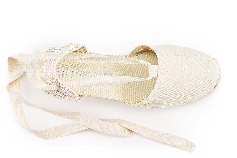 VISCATA Ankle-Tie, Ebene 2.5 Heel, Soft Ankle-Tie, VISCATA Closed Toe, Classic Espadrilles Heel Made in Spain, Elfenbein - 35 EU M - 95f02d