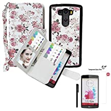 Wallet Case for LG G3, xhorizon TM SR Premium Leather Folio Case Wallet Magnetic Detachable Purse Multiple Card Slots Case Cover for LG G3 (Roseflower with a 9H Tempered Glass Film)