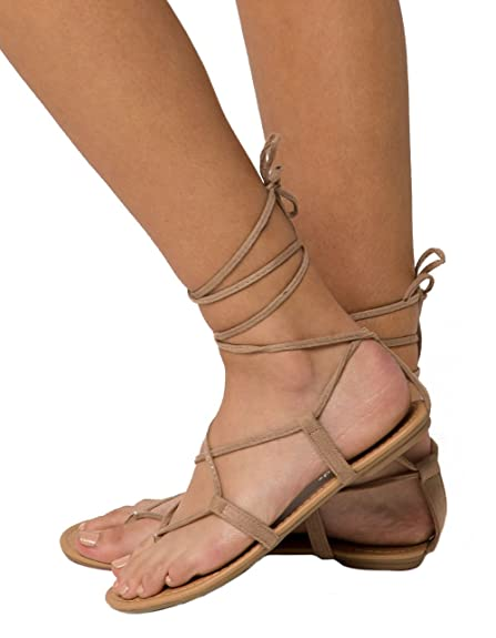 fda52d86e62f City Classified Lace Up Leg Wrap Nude Sandals