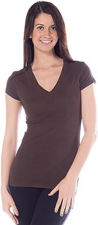 Active - Camiseta de Manga Corta para Mujer, Cuello en V, algodón ...