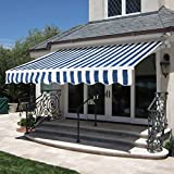 Best Choice Products Patio Manual Patio 8.2'x6.5' Retractable Deck Awning Sunshade Shelter Canopy Blue/White