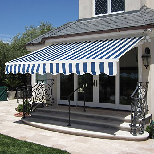 best choice products patio manual patio retractable deck awning sunshade shelter canopy bluewhite