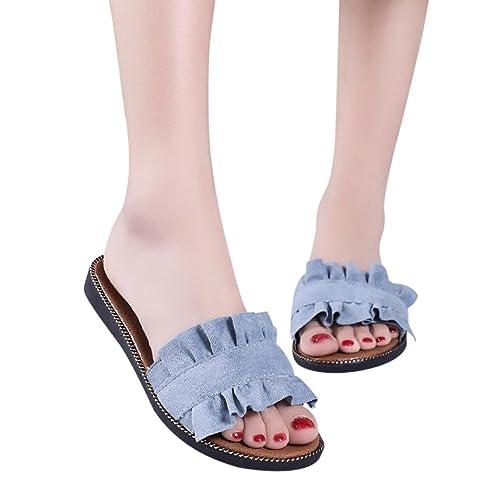 5d1ec40a6e3 Sandalias Mujer Verano 2018 Cuña Chanclas Mujer Sandalias Antideslizantes  Chanclas Planas Punta Abierta Zapatos De Playa Mujer Zapatillas Chancletas  Al Aire ...