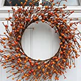 Mixed Orange Berry Autumn Wreath 22 Inches Handmade With Artificial Berries  Fall Decor Thanksgiving Front Door Decoration