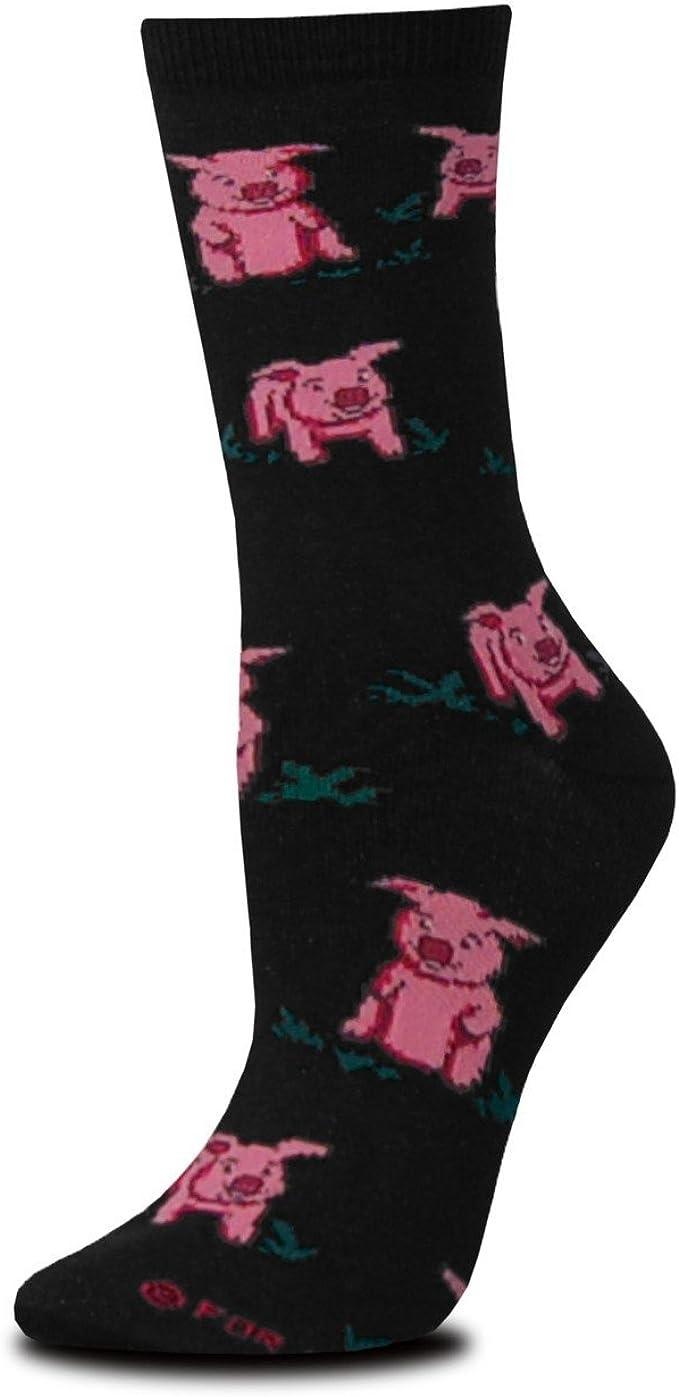 Pink American Pig Cute Crew Socks For Ladies Cotton Socks