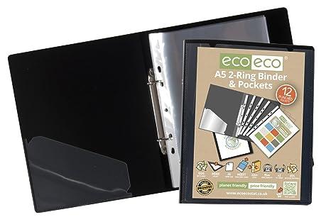 eco-eco A5 65% recicladas RESISTENTE Presentación Carpeta Anillas + 12 TRANSPARENTE Bolsillos