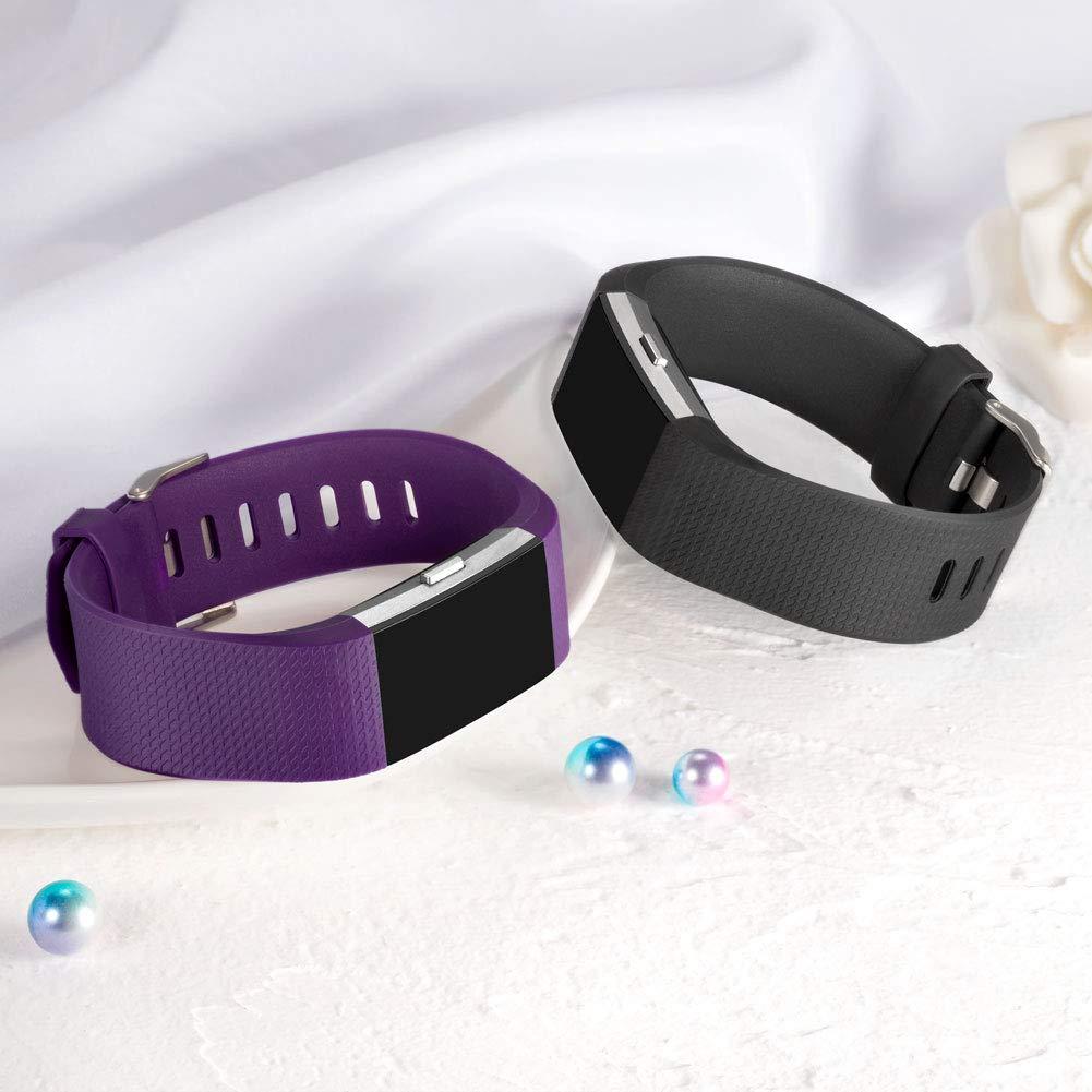 Petit Zekapu pour Fitbit Charge 2 Bracelet Prune//Noire 5.5-6.7 Charge 2 Sangle r/églable Sport Remplacement Bracelet avec Boucle en Acier Inoxydable Classique pour Fitbit Charge2