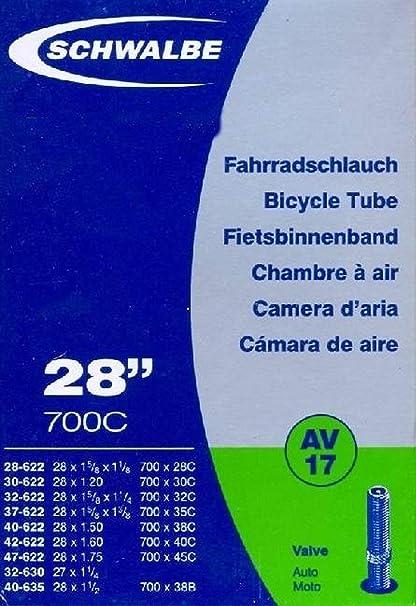 """Fahrrad Schlauch//Schläuche//Autoventil 28/"""" Zoll Schwalbe AV17// 2 Stück"""