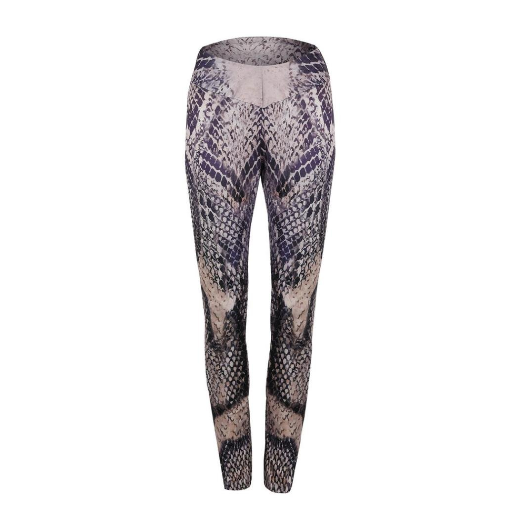 Slim Snake Print Yoga Pants Women's Dancing Climbing Sports High Waist Tummy Control Workout Gym Running Stretch Leggings (Coffee, L)