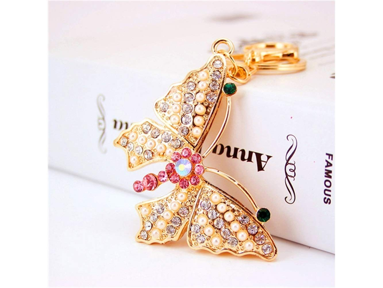 Wetietir Fashion Creative Auspicious Pearl Butterfly Pendant Key Chain Bag Purse Decoration Keyring(Golden) Pendant by Wetietir