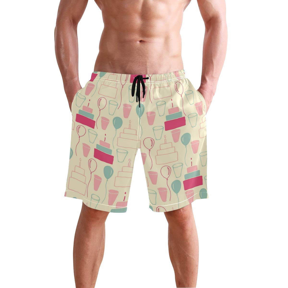 WIHVE Mens Beach Swim Trunks Balloon Cake Pattern Boxer Swimsuit Underwear Board Shorts with Pocket
