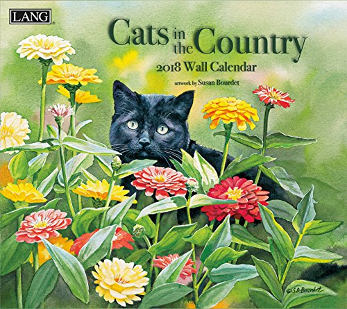 "LANG - 2018 Wall Calendar - ""Cats In The Country"", Artwork By Susan Bourdet ´ - 12 Month - Open 13 3/8"" X 24"""