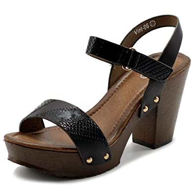 bab04c197177d Ollio Women's Shoe Textured Snake Skin Ankle Strap Platfrom Chunky High  Heel Sandals