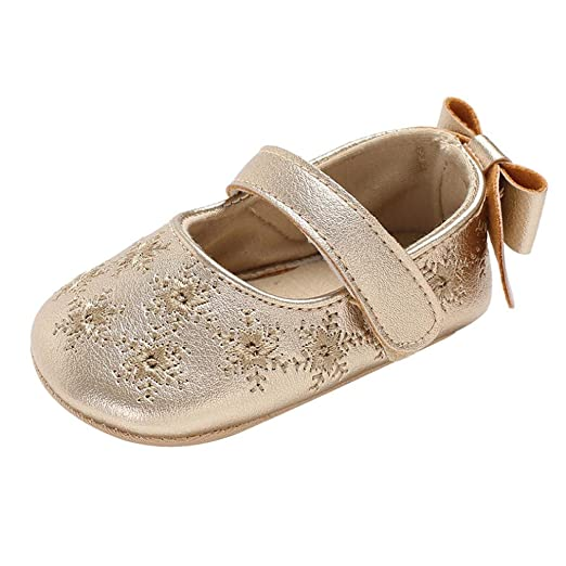 a89f0c07b8e0 Voberry Baby Girl Embroidery Bow Leather Mary Jane Soft Sole Infant First  Walkers Dress Shoes (
