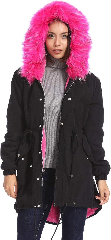 kooosin Women Faux Fur Hooded Fleece Lined Parka Jacket Zip Up Long Warm Winter Coat Plus Size/…
