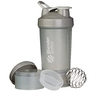 BlenderBottle ProStak System with 22-Ounce Bottle and Twist n' Lock Storage, Pebble Grey