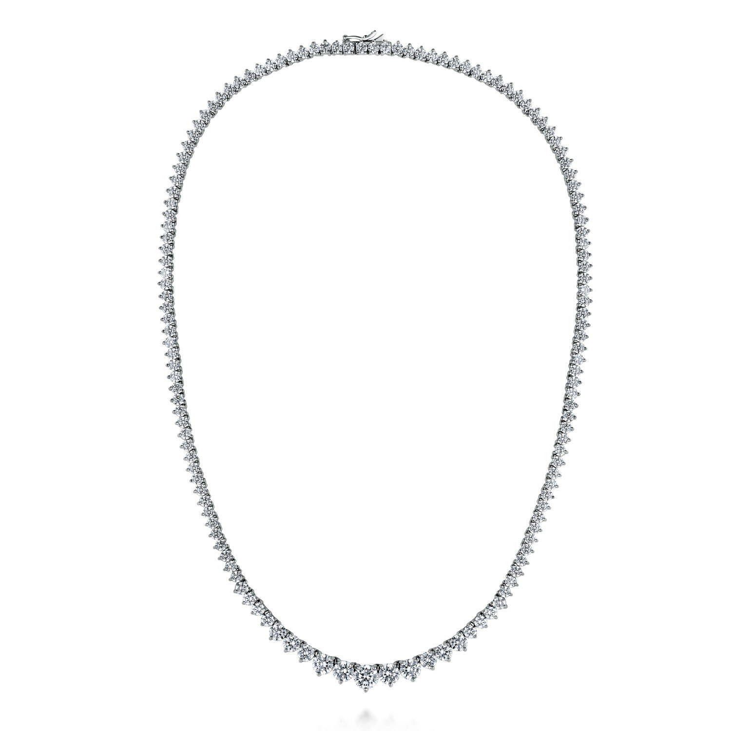 BERRICLE Rhodium Plated Sterling Silver Cubic Zirconia CZ Graduated Tennis Necklace 18''