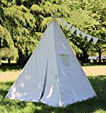 Natural Canvas Teepee From Canada With Poles, Rollup Window, Flags and Carry Bag,Teepee, Kid Teepee Tent, Play Tent