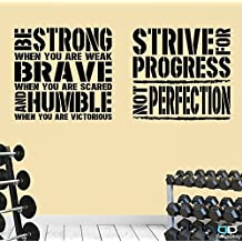 2 Gym Exercise Fitness Motivational Wall Decal Quotes Brave Strive Great Value! (Large: Each decals is 24'' x 22'' (60cm x 57cm))