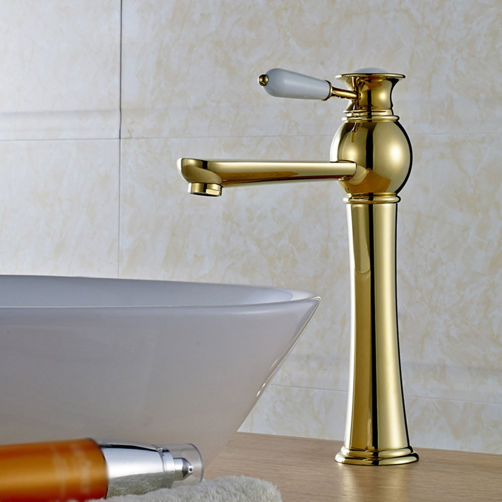 Bijjaladeva Antique Bathroom Sink Vessel Faucet Basin Mixer Tap The luxury gold-copper single handle single hole of hot and cold water basin mixer
