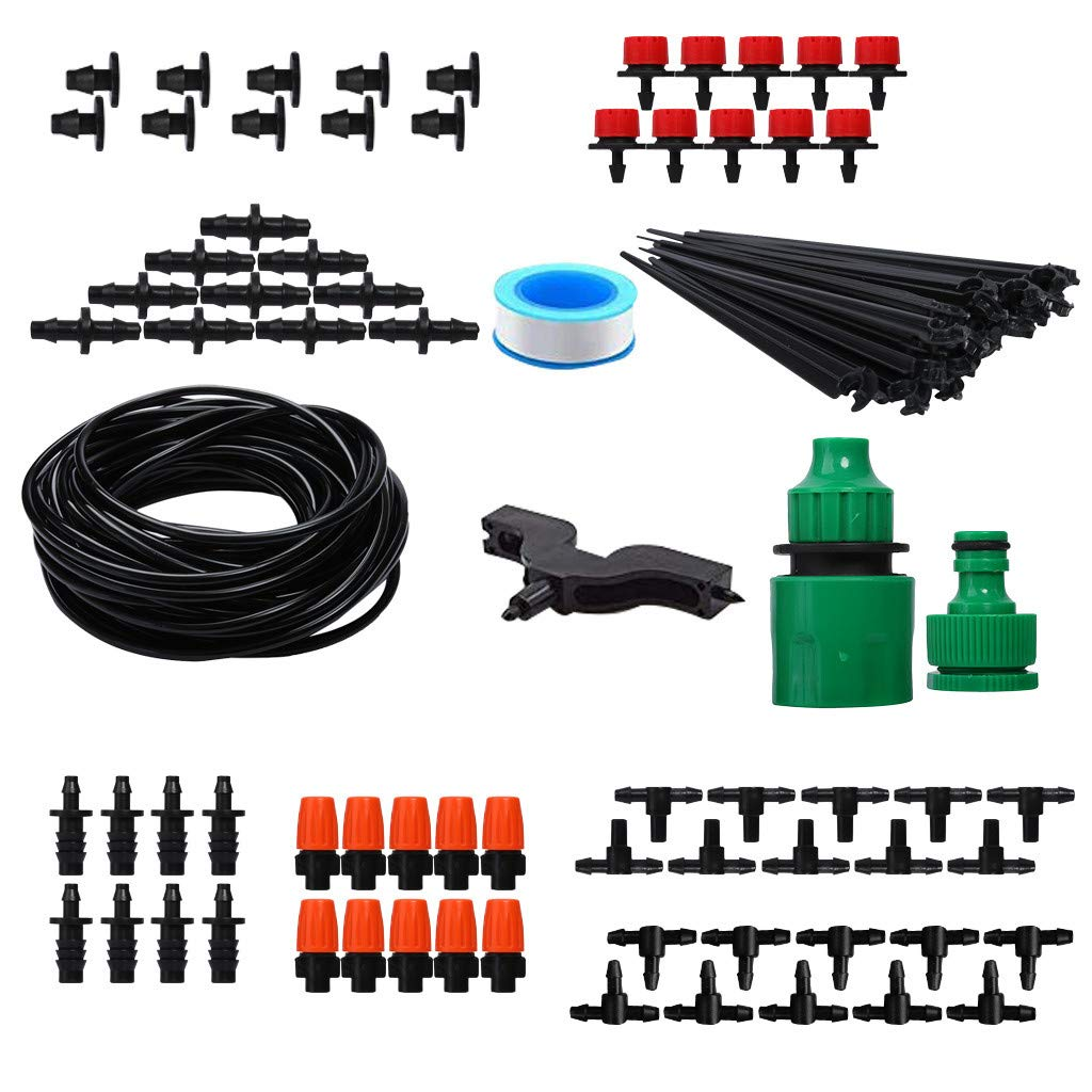 10M fang FANS Irrigation System Distribution Tubing Watering Drip Kit for Garden Greenhouse, Automatic Micro Flow Drip Watering System with Distribution Tubing Hose Adjustable Nozzles。