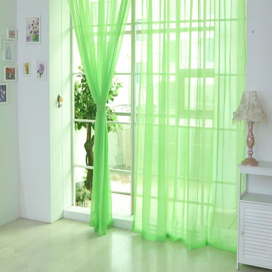 Qisc Home Decoration 1 Pieces Sheer Curtains Window Treatment Rod Pocket Tulle Sheer Voile Curtains/Drapes/Panels (Multicolor C)