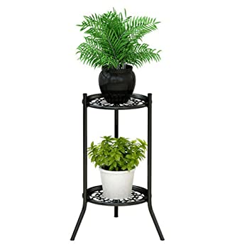Two Tiers Metal Potted Plant Stand Rustproof Decorative Flower Pot