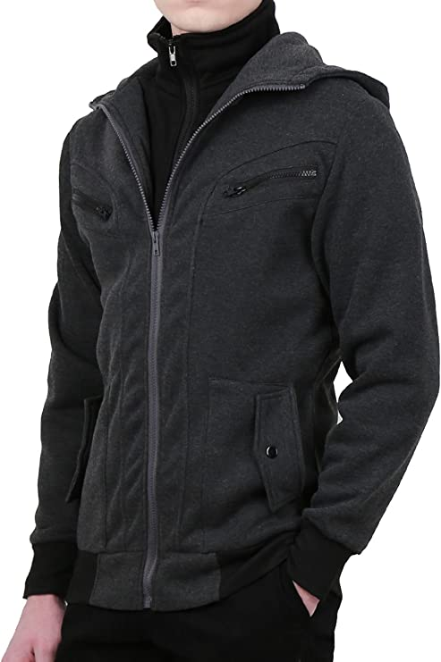 CRYYU Men Hoodies Zip Front Coat Hip Hop Drawstring Outerwear Fleece Sweatshirt