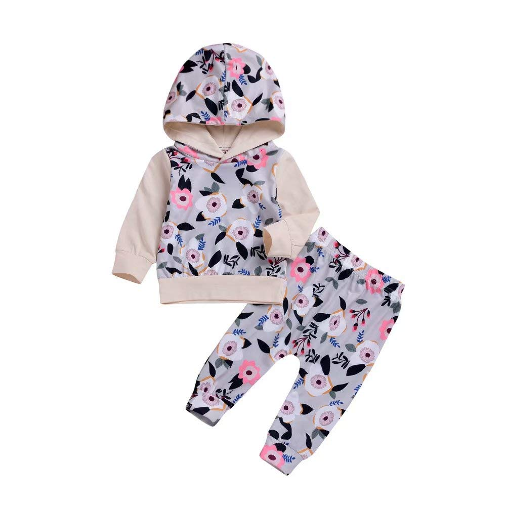 Zerototens Unisex Baby Clothing Sets, Newborn Toddler Baby Gray Long Sleeve Floral Print Hoodie Sweatshirt Tops+Long Pants Outfits Set Autumn Winter Casual Outwear Age 0-3 Years Old