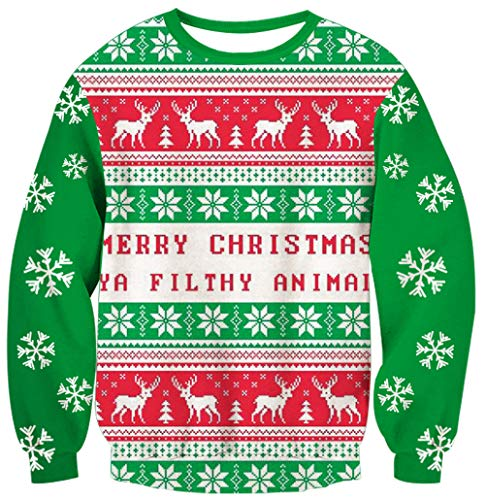 (70s Plus Size Ugly Christmas Sweater Red Crewneck Sweatshirt Novelty Xmas Animal Elf 3D Print Snowflake Long Sleeve Shirt Youth Holiday Party Clothes XL)