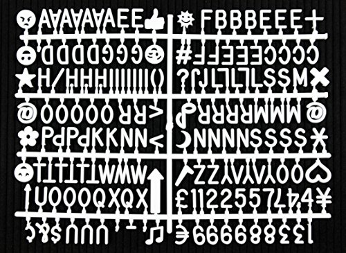 Letter Board Letter Set - 344-Piece White Letters, Numbers, Symbols & Emojis for Changeable Felt Letter Boards - Multiple Colors/Sizes Available (3/4