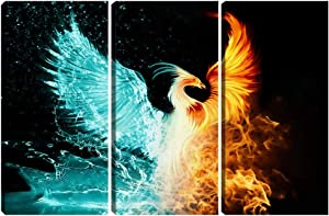 Fantasy Phoenix Poster Print Wall Art 3 Pieces Abstract Home Wall Decor Canvas Picture Painting Framed Artwork Office Living Room Bedroom Decoration 16