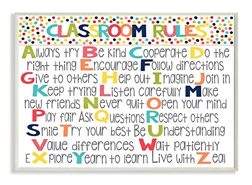 Stupell Home Décor Classroom Rules Colorful Alphabet Wall Plaque Art, 10 x 0.5 x 15, Proudly Made in (Rules Wall Hanging)