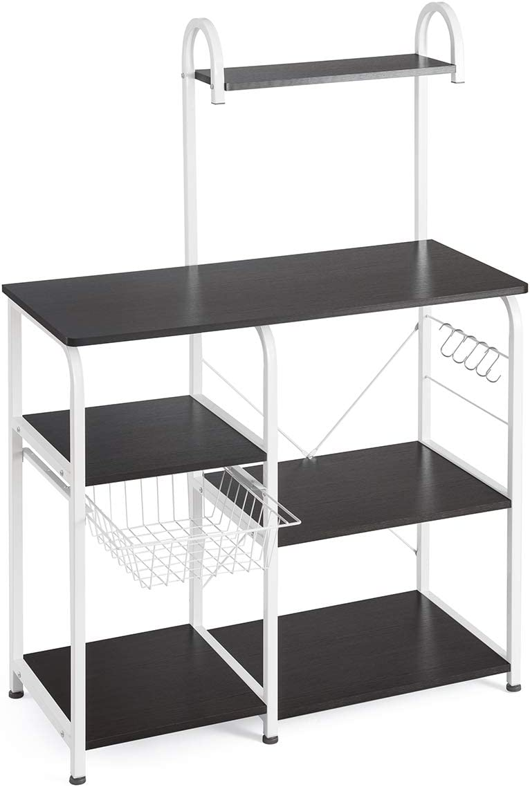 "Mr IRONSTONE Kitchen Baker's Rack Utility Storage Shelf 35.5"" Microwave Stand 3-Tier+4-Tier Shelf for Spice Rack Organizer Workstation(Dark Brown) - Standing Baker's Racks"