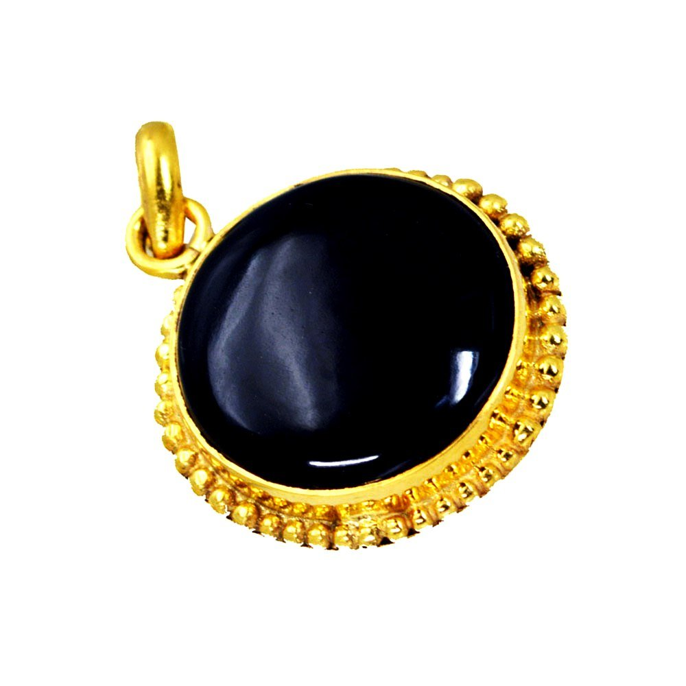 Jewelryonclick Original Black Onyx Pendants for Women Yellow Gold Plated Charms Handmade Necklace Gifts