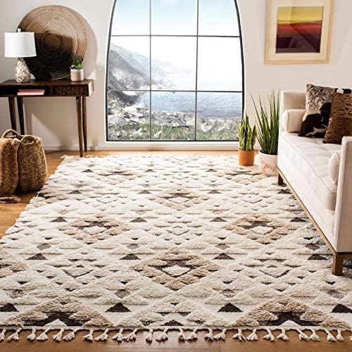 Safavieh Moroccan Tassel Shag Collection MTS688A-1115 2-inch Thick Area Rug 11' x 15' Ivory/Brown