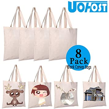 8pcs Sublimation Blank Canvas Bags Resuable Washable Grocery Shopping Tote  Bags for DIY by UOhost