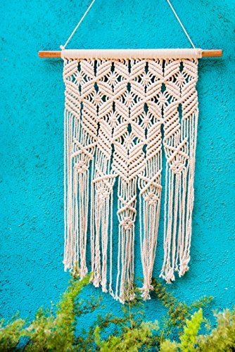Macrame Wall Hanging Flower Woven Large Tapestry - Handmade Bohemian Home Decor - Boho Chic Apartment Studio or Dorm Decorative Interior Wall Art - Office Living Room Bedroom Nursery Craft Decorations by Folkulture