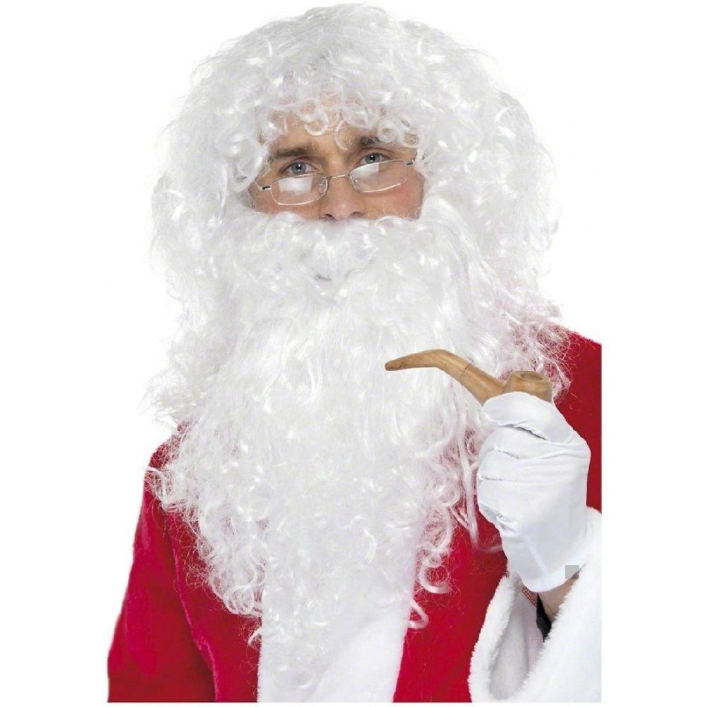 Santa Claus Costume Kit Adult Wig Beard Glasses & Pipe Christmas Fancy Dress