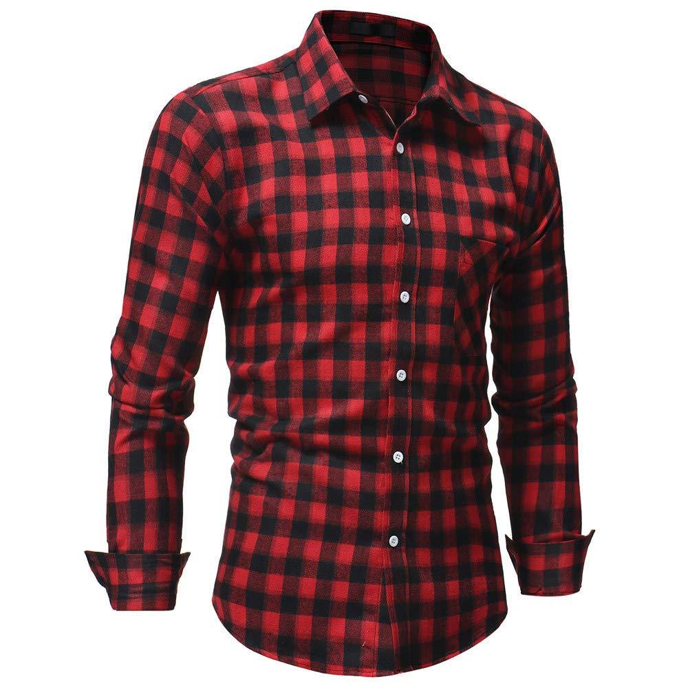 POHOK Mens Long-Sleeved Plaid Flannel Shirt