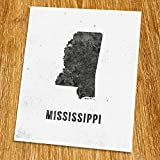 "Mississippi Map Print (Unframed), Modern Map Art, Cafe, Industrial, Loft, Black and White, 8x10"", TE-024"