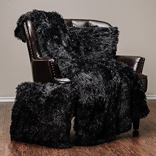 Chanasya Super Soft Long Shaggy Chic Fuzzy Fur Faux Fur Warm Elegant Cozy With Fluffy Sherpa Black Microfiber Throw Blanket (50